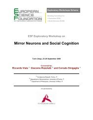 esf exploratory workshop: mirror neurons and social cognition