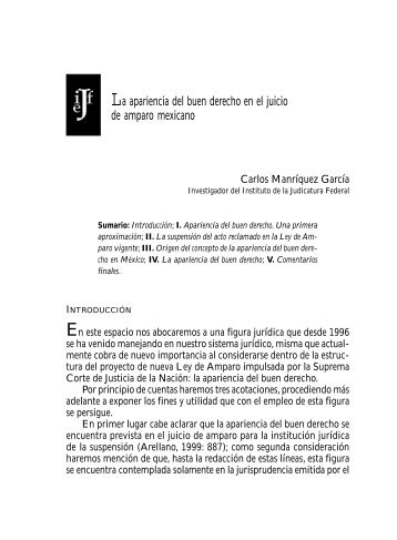 La apariencia del buen derecho en el juicio de amparo mexicano