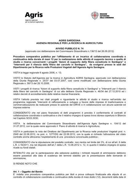 Avviso pubblico n. 74 - Collegio Nazionale degli Agrotecnici