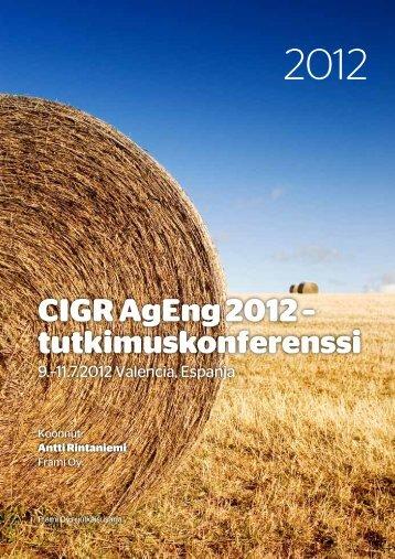 CIGR AgEng 2012 – tutkimuskonferenssi