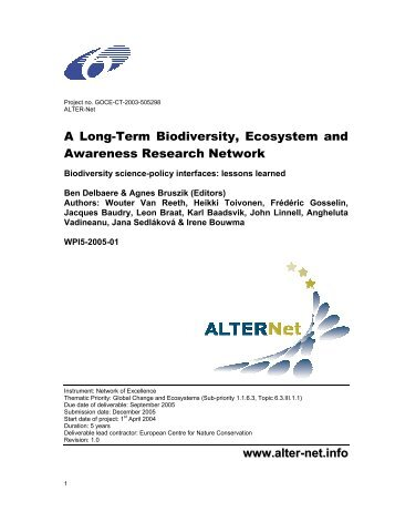 Biodiversity science-policy interfaces; lessons learned - ECNC
