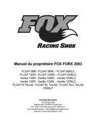 Manuel du propriétaire FOX FORX 2003