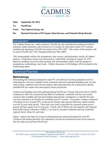 The Cadmus Group memo on Solar PV (9-28-12) - PacifiCorp
