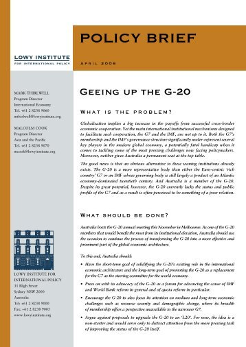 Geeing up the G-20