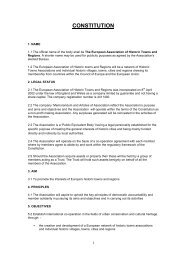 CONSTITUTION - European Association of Historic Towns & Regions