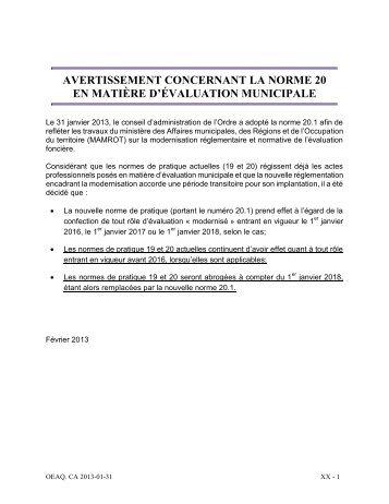 Norme 20 - janvier 2013 - Ordre des évaluateurs agréés du Québec