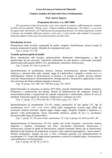 Prof. Andrea Tapparo Programma del - Dipartimento di Scienze ...