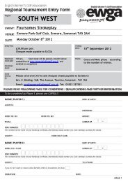 2012 south west foursomes entry form - England Golf