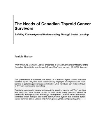 The Needs of Canadian Thyroid Cancer Survivors: Building ...