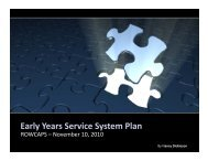 Early Years Service System Plan - Social Services