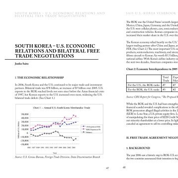 south korea  us economic relations and bilateral free trade