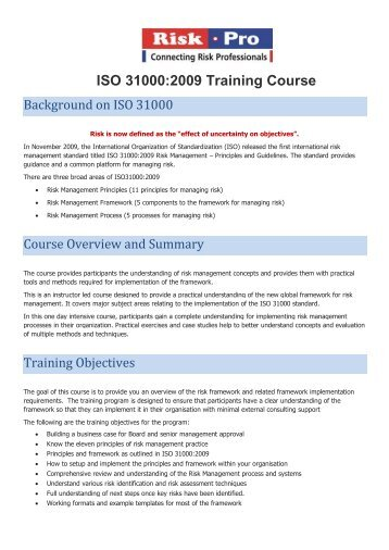 ISO 31000:2009 Training Course - Riskpro