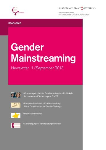 Gender Mainstreaming Newsletter 11/September 2013