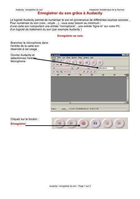 audacity enregistrer carte son Enregistrer du son grâce à Audacity