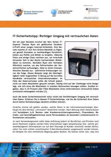 Richtiger Umgang mit vertraulichen Daten - BIEG Hessen