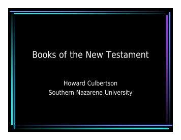 Books of the New Testament - Southern Nazarene University