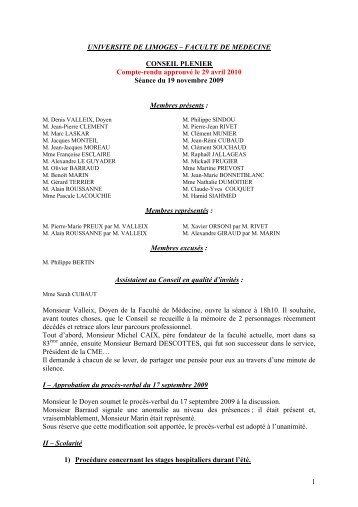 Membres prsents : - Faculté de Médecine de Limoges