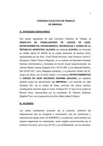 CONVENIO COLECTIVO DE TRABAJO DE EMPRESA A ... - ALEARA