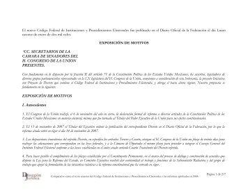 Comparativo entre el texto anterior del COFIPE y las reformas ...