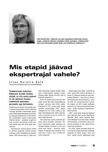 Mis etapid jäävad ekspertrajal vahele? (Liina Karolin-Salu) - Haridus