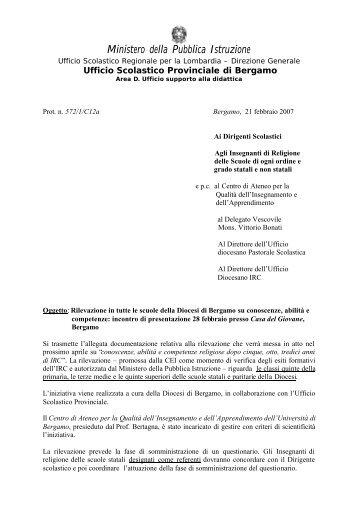 Circolare - Centro servizi amministrativi di Bergamo - Ufficio ...