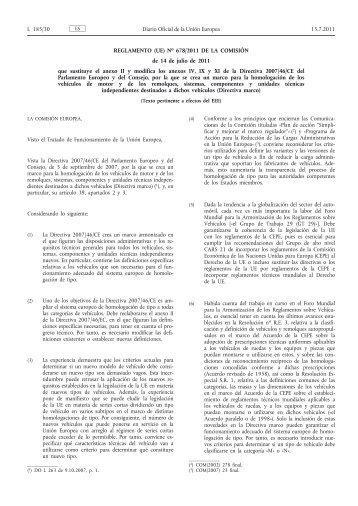 Reglamento (UE) no 678/2011 de la Comisión, de 14 de julio de ...