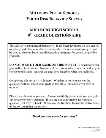 Youth Risk Behavior Survey - Millbury Public Schools Community .