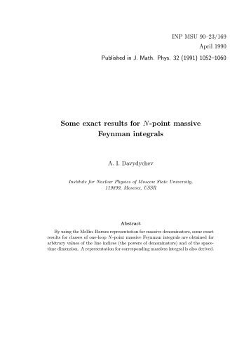 Some exact results for N-point massive Feynman ... - THEP Mainz
