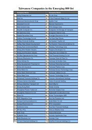 Taiwanese Companies in the Emerging 800 list