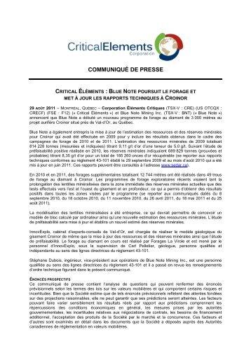 Télécharger la version PDF - Critical Elements Corporation