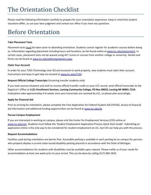 The Orientation Checklist Before Orientation - Lansing