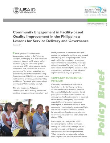 Community engagement in facility-based quality improvement in