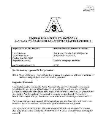 Interpretation Committee Decision 7-09 (PDF) - 3-A Sanitary ...