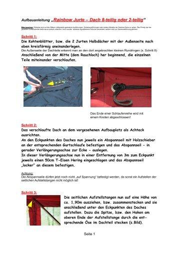 Anleitung zum Aufbau der Rainbow-Jurte - Jurtenland