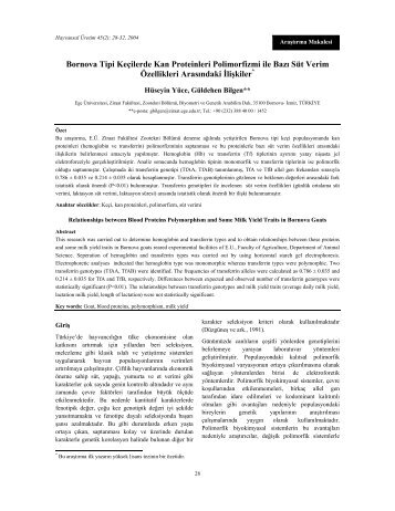 Bornova Tipi Keçilerde Kan Proteinleri Polimorfizmi ile Bazı Süt ...