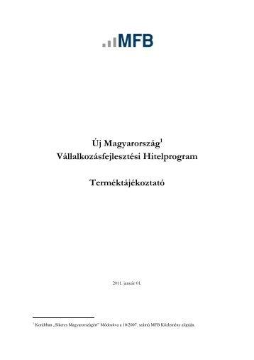 Új Magyarország1 Vállalkozásfejlesztési Hitelprogram ...