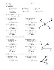 Geometry Name Unit 1B Review I. Definitions Congruent angles ...