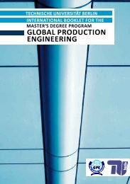 GPE Brochure - Global Production Engineering - TU Berlin