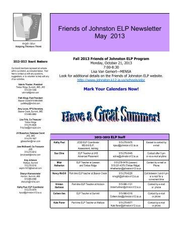 May 2013 - Johnston Community School District