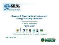 Savannah River National Laboratory Energy Security Initiatives