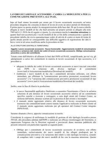 LAVORO OCCASIONALE ACCESSORIO ... - LaPrevidenza.it