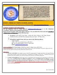 HATS Brochure 2013 - Hindu Temple