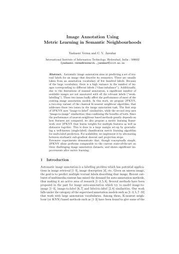 Image Annotation Using Metric Learning in Semantic ... - CVIT