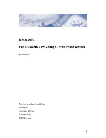 Motor ABC For SIEMENS Low-Voltage Three Phase Motors