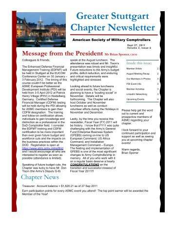 September 2011 Newsletter - ASMC Sub Chapters - American ...