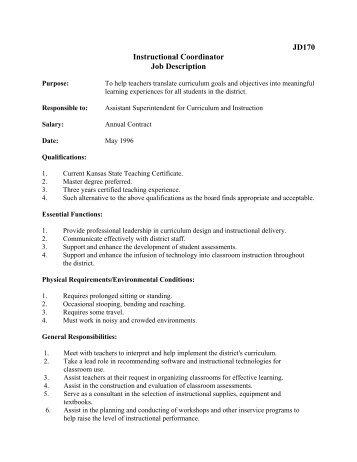education coordinator job duties the job description for an hr