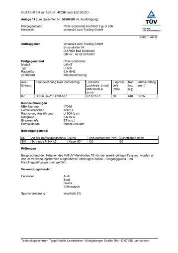 GUTACHTEN zur ABE Nr. 47038 nach §22 ... - Tyremotive GmbH