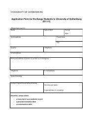 UNIVERSITY OF GOTHENBURG Application Form for Exchange ...