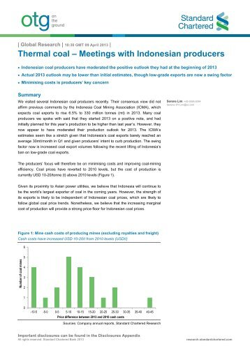 Thermal coal – Meetings with Indonesian producers - Standard ...