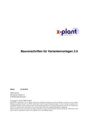 x-plant Bauvorschriften für 3D-Variantenvorlagen